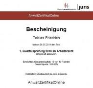 Anwalt Zertifikat 2010